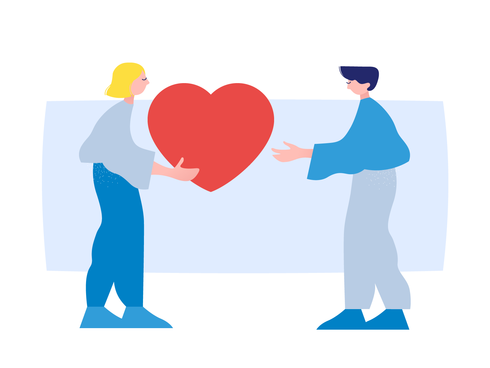 Illustration of a woman giving someone a heart.