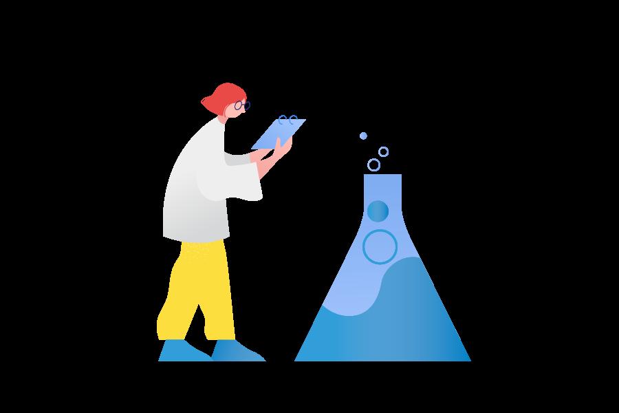 Scientist beside large beaker illustration