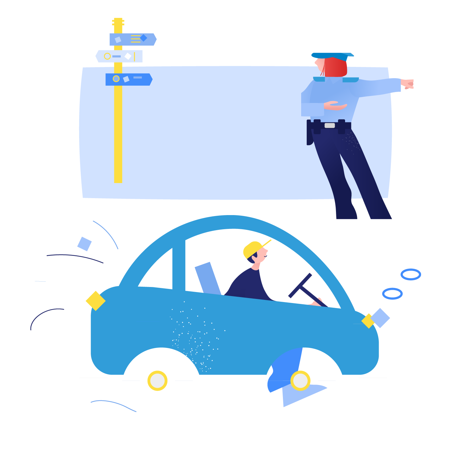 Illustration of car and traffic controller.
