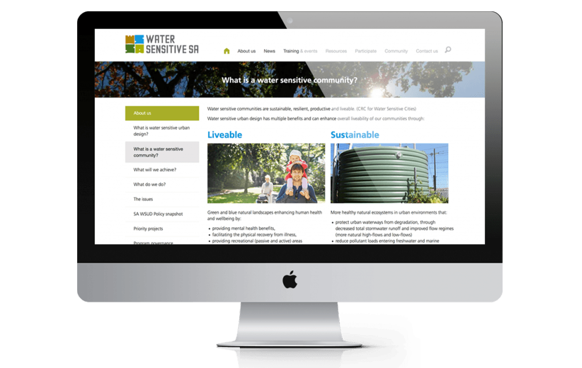Water Sensitive Website Home page